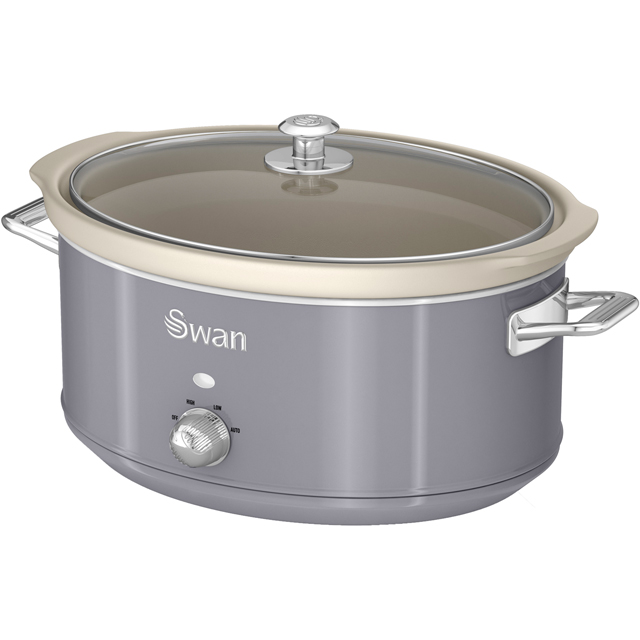 Swan Retro SF17031GRN 6.5 Litre Slow Cooker - Grey - SF17031GRN_GY - 1