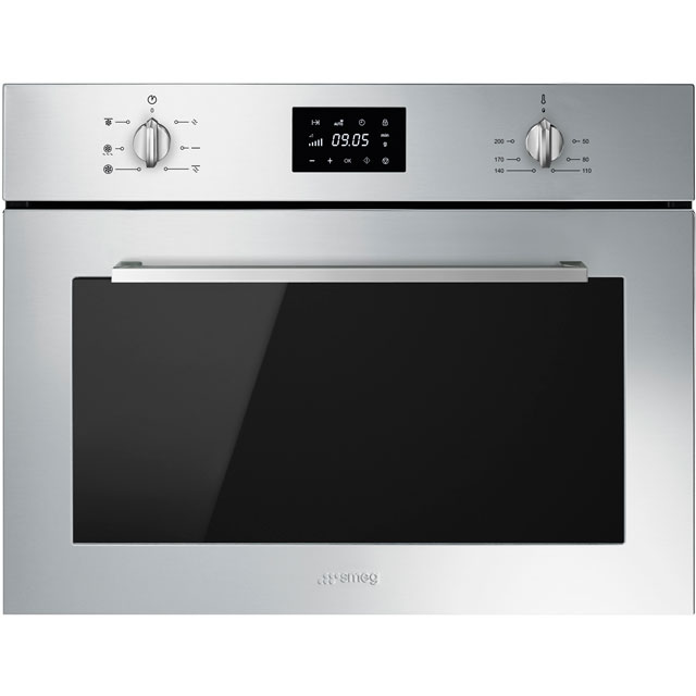 Smeg Cucina SF4400MCX Built In Compact Electric Single Oven with Microwave Function - Stainless Steel - SF4400MCX_SS - 1