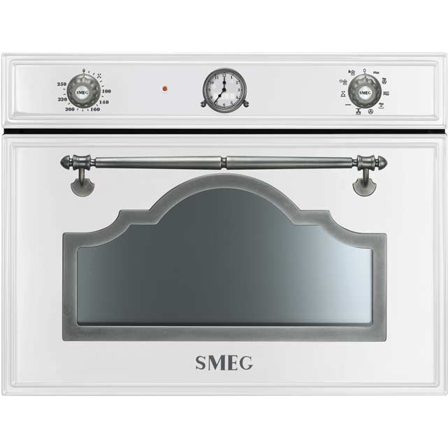 Smeg Cortina SF4750MCBS Built In Compact Electric Single Oven with Microwave Function - White / Silver