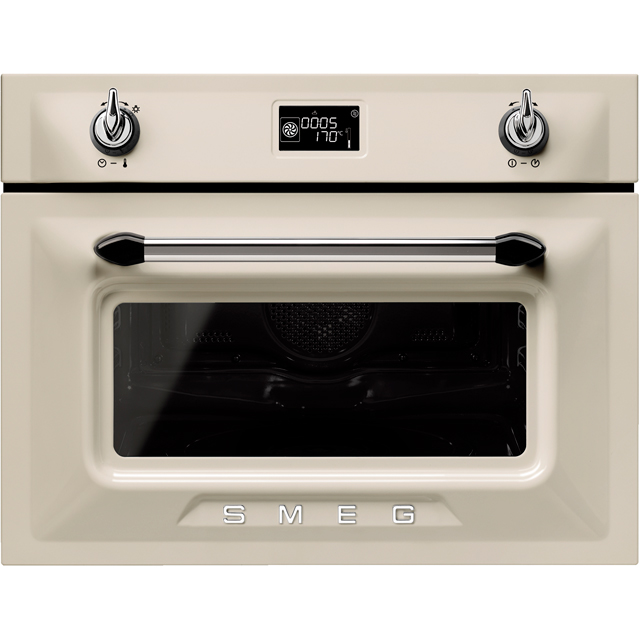 Smeg Victoria SF4920MCP1 Built In Compact Electric Single Oven with Microwave Function - Cream - SF4920MCP1_CR - 1