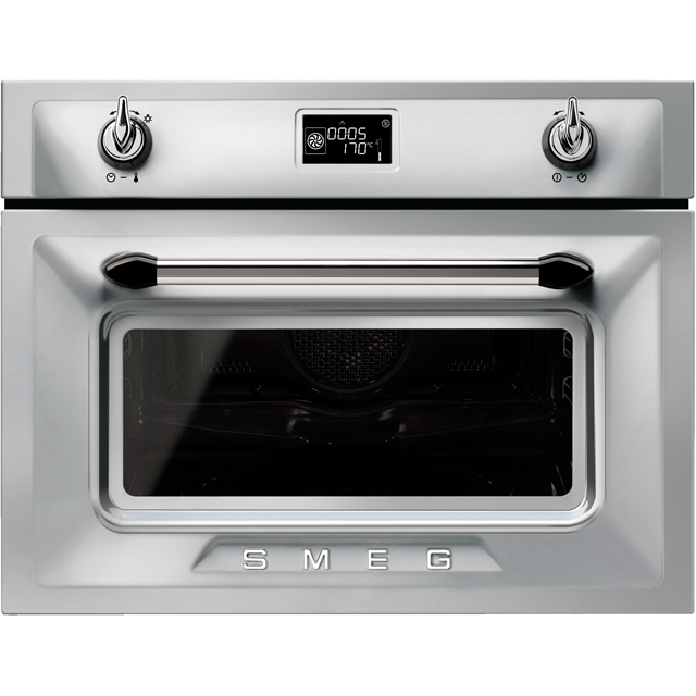 Smeg Victoria SF4920MCX1 Built In Compact Electric Single Oven with Microwave Function - Silver - SF4920MCX1_SI - 1