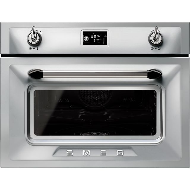 Smeg Victoria SF4920VCX1 Built In Compact Electric Single Oven with added Steam Function - Silver - A+ Rated - SF4920VCX1_SI - 1
