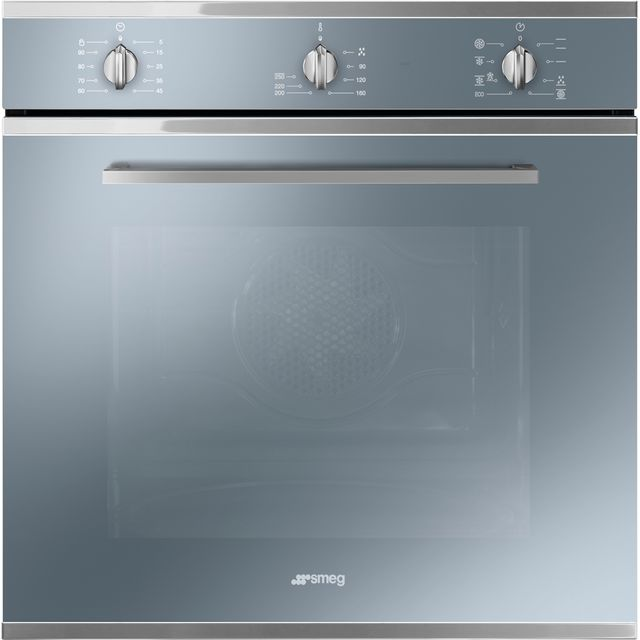 Smeg Cucina SF64M3TVS Built In Electric Single Oven - Silver Glass - A Rated - SF64M3TVS_SG - 1