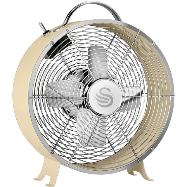 Swan Retro 8 Inch Clock Fan Desk Fan SFA12630CN - Cream - SFA12630CN_CR - 1