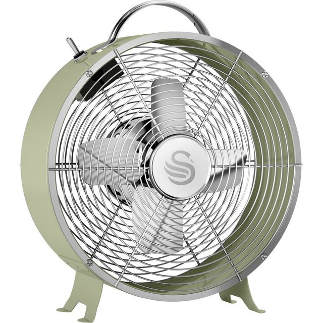 Swan Retro 8 Inch Clock Fan Desk Fan SFA12630GN - Green - SFA12630GN_GR - 1