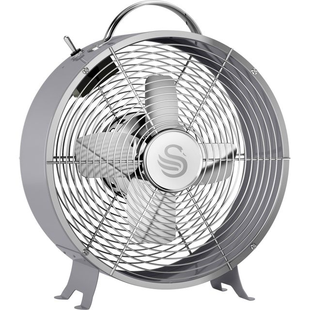 Swan Retro 8 Inch Clock Fan Desk Fan SFA12630GRN - Grey - SFA12630GRN_GY - 1