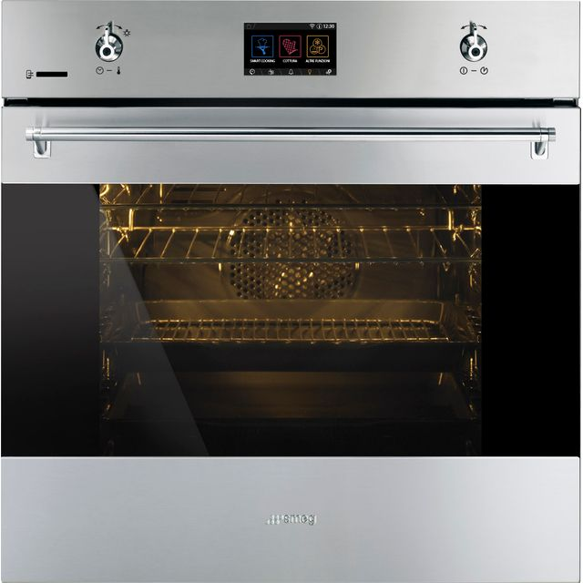 Smeg Classic SFP6303WTPX Built In Electric Single Oven - Black / Stainless Steel - SFP6303WTPX_BSS - 1