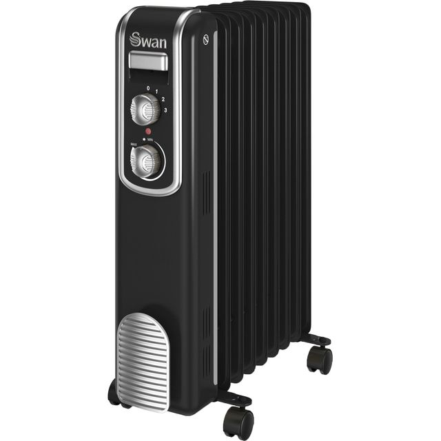 Swan Retro 9 Finned SH60010BN Oil Filled Radiator 2000W - Black