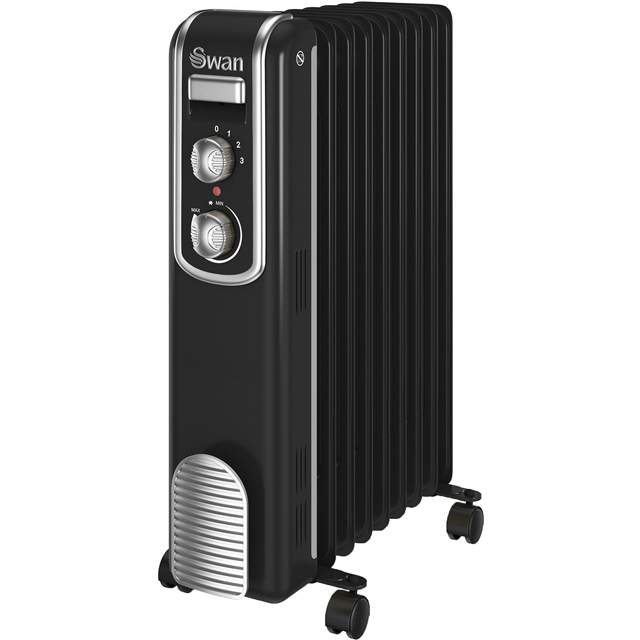 Swan Retro 9 Finned Oil Filled Radiator in Black