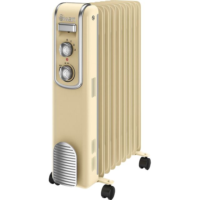 Swan Retro 9 Finned SH60010CN Oil Filled Radiator 2000W - Cream
