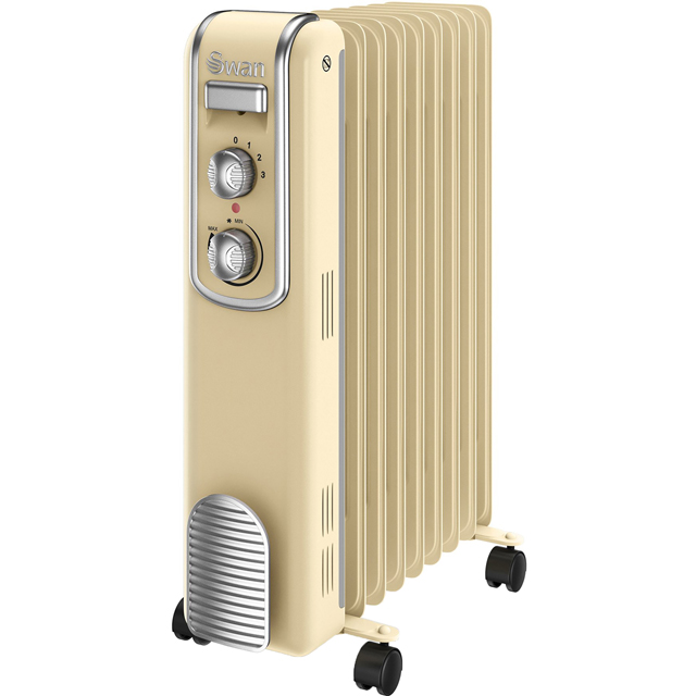 Swan Retro 9 Finned SH60010CN Oil Filled Radiator 2000W - Cream - SH60010CN_CR - 1
