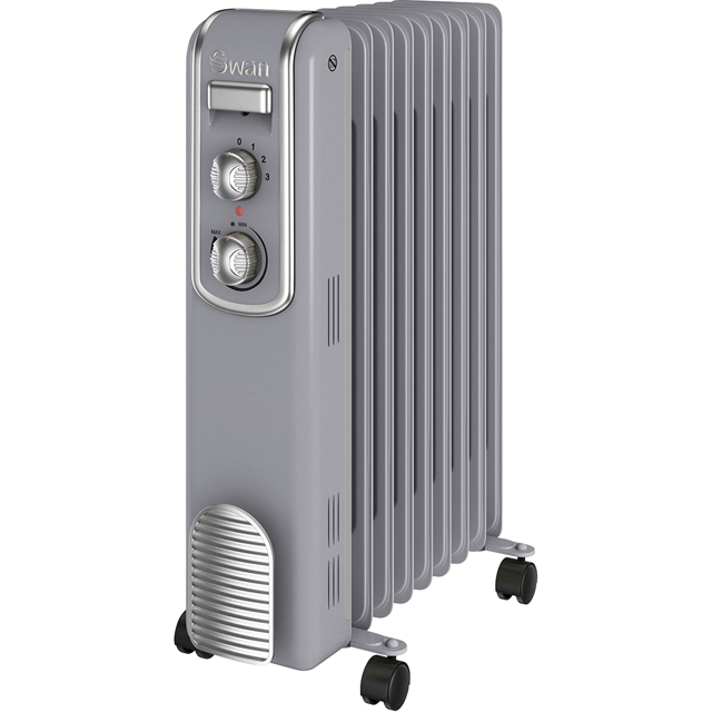 Swan Retro 9 Finned SH60010GRN Oil Filled Radiator 2000W - Grey - SH60010GRN_GY - 1