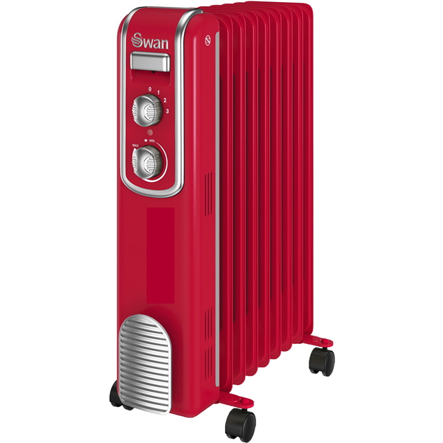 Swan Retro 9 Finned Oil Filled Radiator SH60010RN Oil Filled Radiator in Red