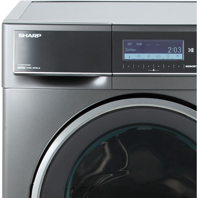 Sharp ES-HDD1047A0 10Kg / 6Kg Washer Dryer - Dark Silver - ES-HDD1047A0_DSI - 2