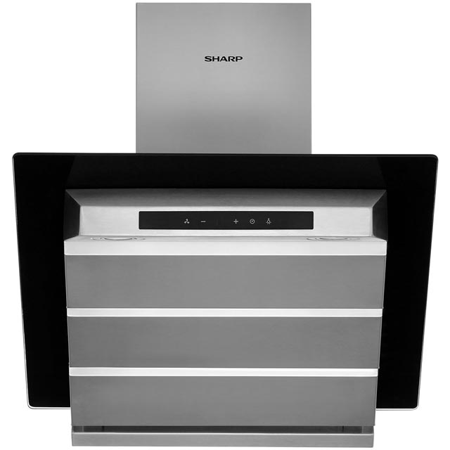 Sharp 60 cm Chimney Cooker Hood - Stainless Steel / Black - B Rated