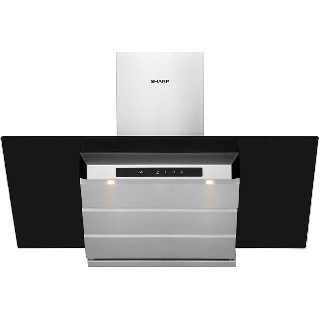 Sharp 90 cm Chimney Cooker Hood - Inox - B Rated