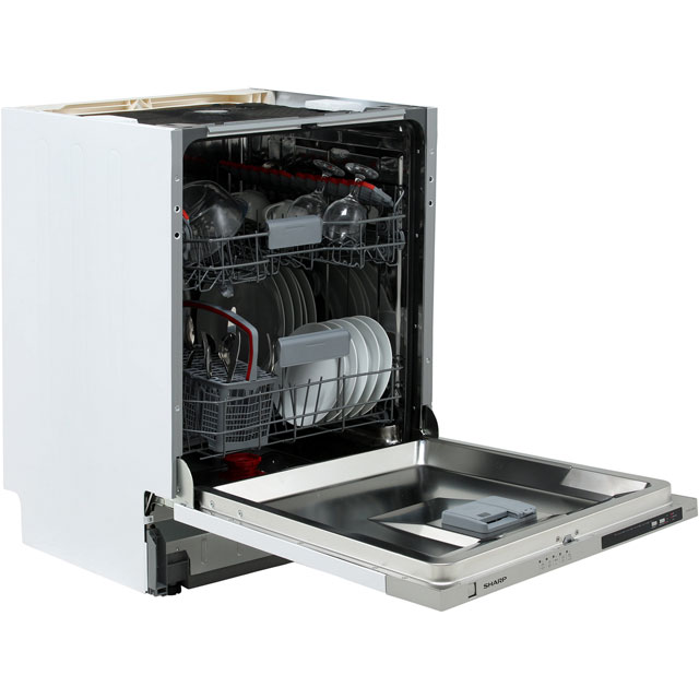 Sharp Fully Integrated Standard Dishwasher - Stainless Steel with Fixed Door Fixing Kit - A++ Rated
