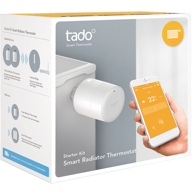 tado Smart Radiator Thermostat Starter Kit - Horizontal 101916 Smart Radiator Valve in White