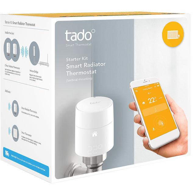 tado Smart Radiator Thermostat Starter Kit - Vertical 101917 Smart Radiator Valve in White