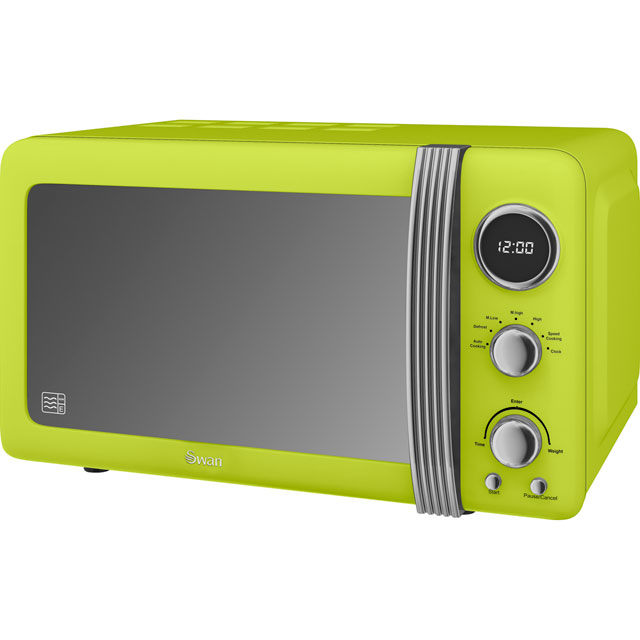 Swan Retro SM22030LN Free Standing Microwave Oven in Lime Green