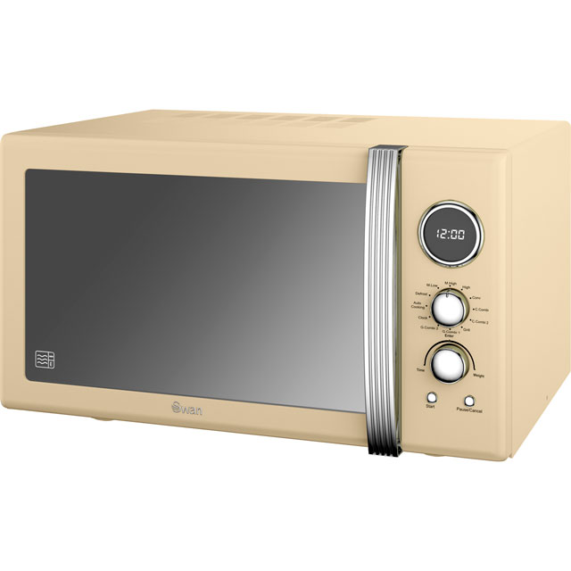 Swan Retro Digital SM22080CN Free Standing Microwave Oven in Cream