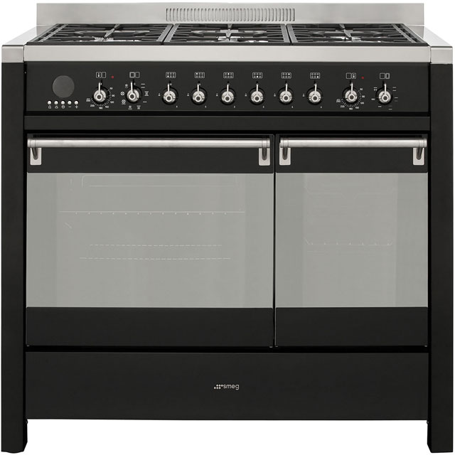 Smeg Opera 100cm Dual Fuel Range Cooker - Black - A/B Rated