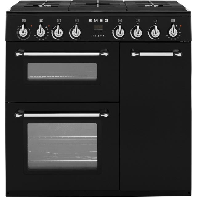 Smeg Burghley 90cm Dual Fuel Range Cooker - Black - A/B Rated