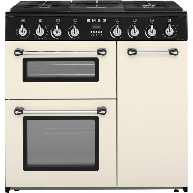 Smeg Burghley BU93P 90cm Dual Fuel Range Cooker - Cream - A/B Rated - BU93P_CR - 1