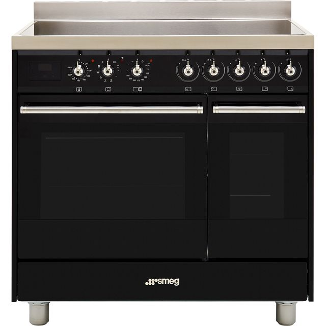 Smeg Classic C92IPBL9-1 90cm Electric Range Cooker with Induction Hob - Black - A/A Rated - C92IPBL9-1_BK - 1