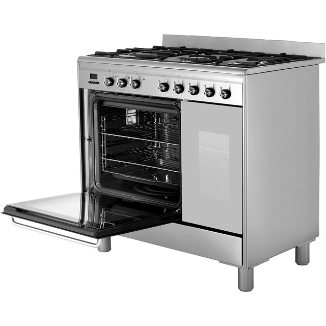 Smeg CG92PX9 90cm Dual Fuel Range Cooker - Stainless Steel - CG92PX9_SS - 3