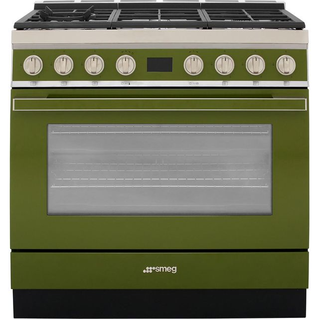 Smeg Portofino 90cm Dual Fuel Range Cooker - Olive Green - A+ Rated