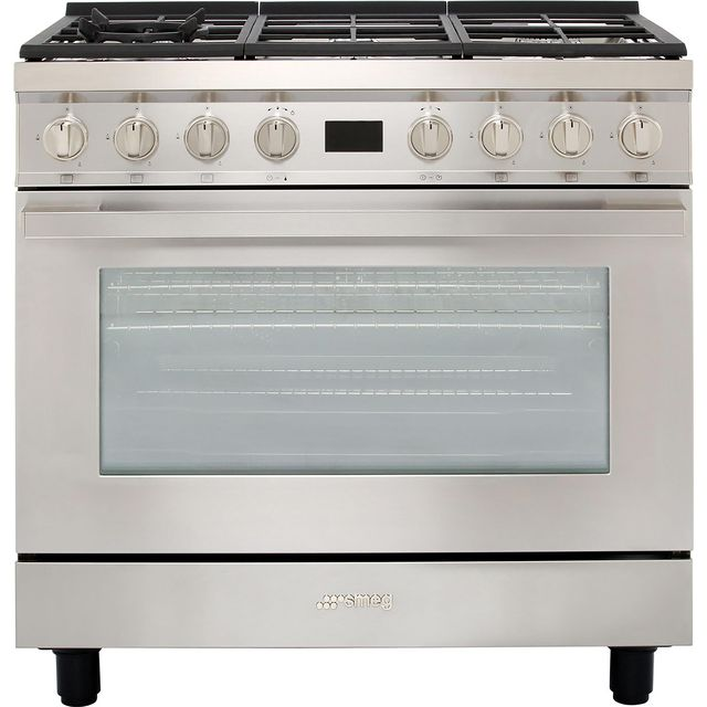 Smeg Portofino CPF9GPX 90cm Dual Fuel Range Cooker - Stainless Steel - A+ Rated - CPF9GPX_SS - 1