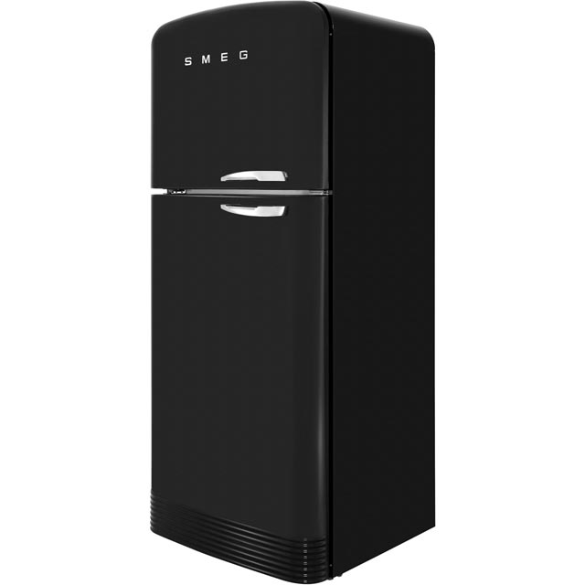 Smeg Left Hand Hinge 80/20 Frost Free Fridge Freezer - Black - A++ Rated