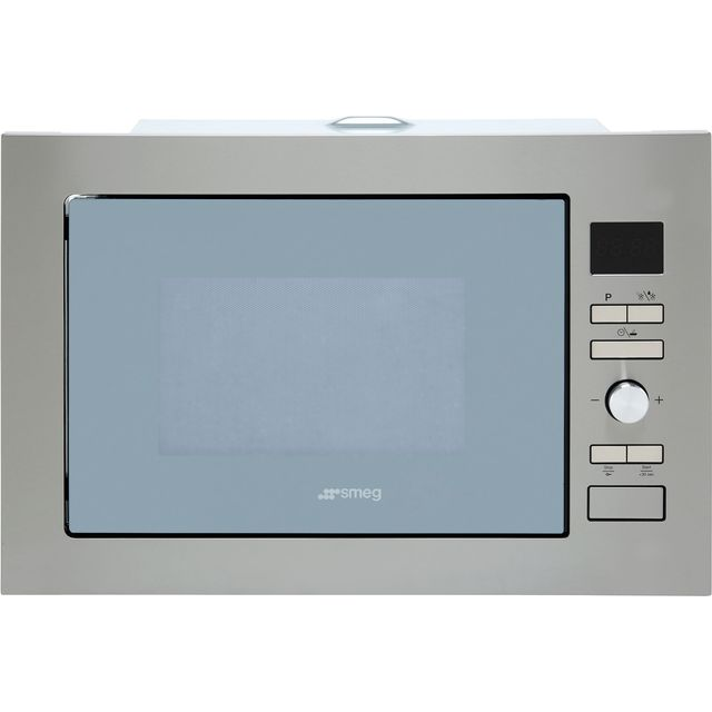 Smeg Cucina FMI425S Built In Microwave with Grill - Silver Glass