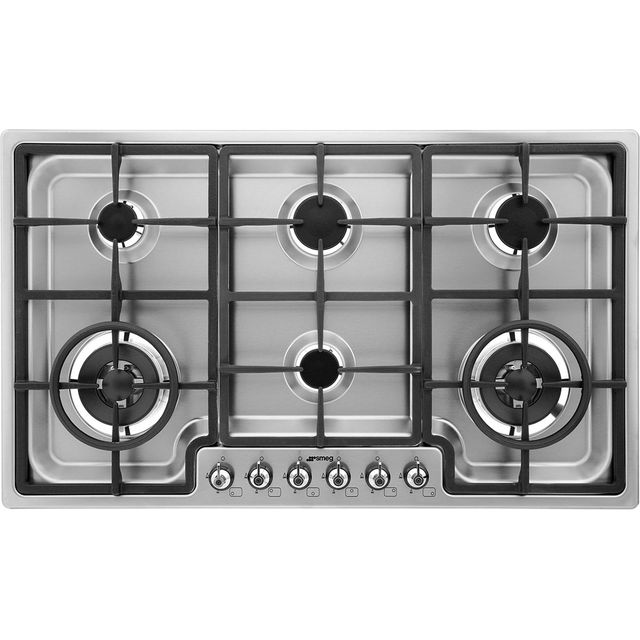 Smeg Classic PGF96 87cm Gas Hob - Stainless Steel - PGF96_SS - 1