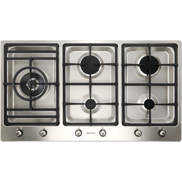 Smeg Classic PS906-5 Built In Gas Hob - Stainless Steel - PS906-5_SS - 1