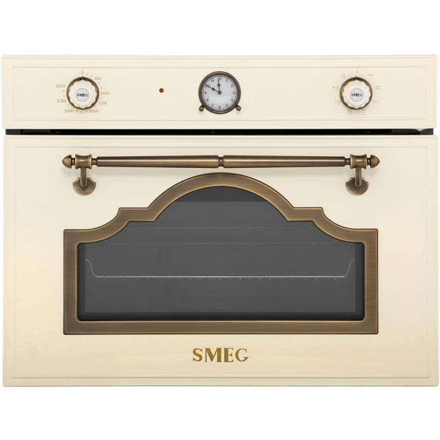 Smeg Cortina Integrated Microwave Oven in Cream / Brass