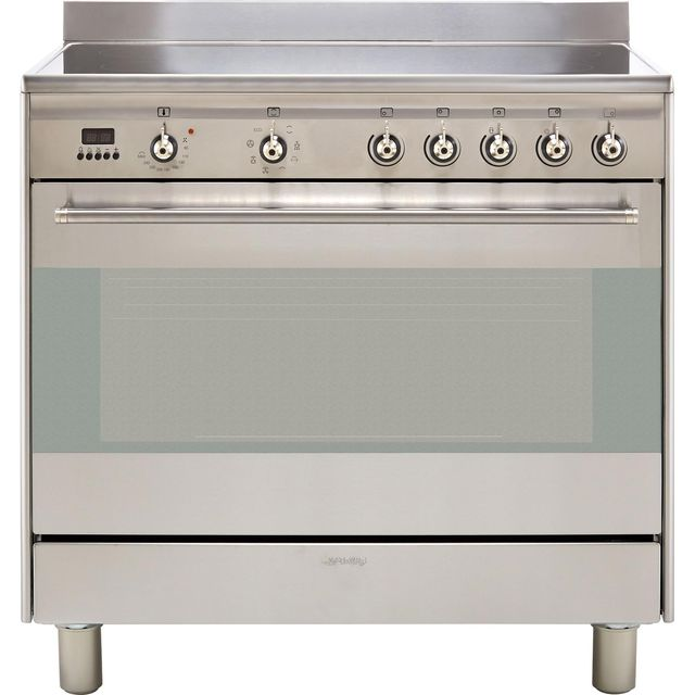 Smeg Concert SUK91CMX9 90cm Electric Range Cooker with Ceramic Hob - Stainless Steel - A Rated - SUK91CMX9_SS - 1