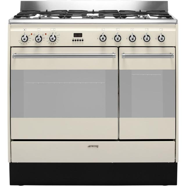 Smeg Concert SUK92P9-1 Dual Fuel Range Cooker - Cream - A Rated - SUK92P9-1_CR - 1