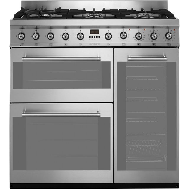 Smeg Symphony 90cm Dual Fuel Range Cooker - Stainless Steel - A/B Rated