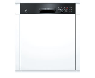 Bosch Serie 4 SMI50C16GB Semi Integrated Standard Dishwasher - Black Control Panel with Fixed Door Fixing Kit - A+ Rated - SMI50C16GB_BK - 1