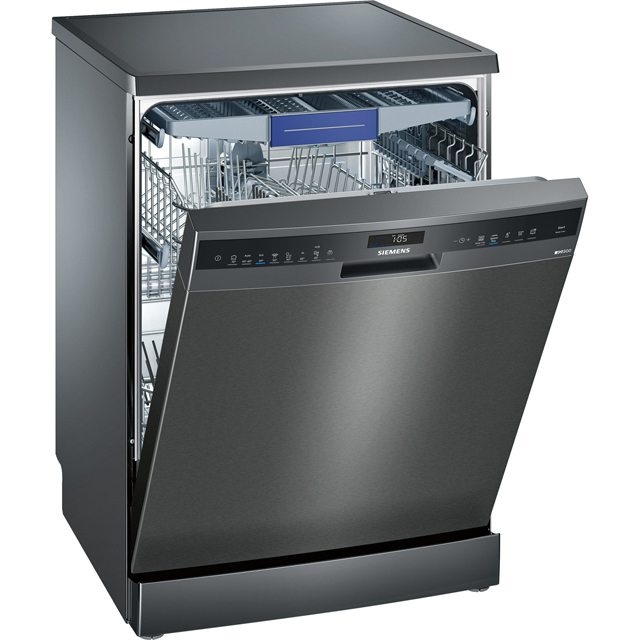 Siemens IQ-500 SN258B00NE Standard Dishwasher - Black Steel - A++ Rated - SN258B00NE_BKS - 1