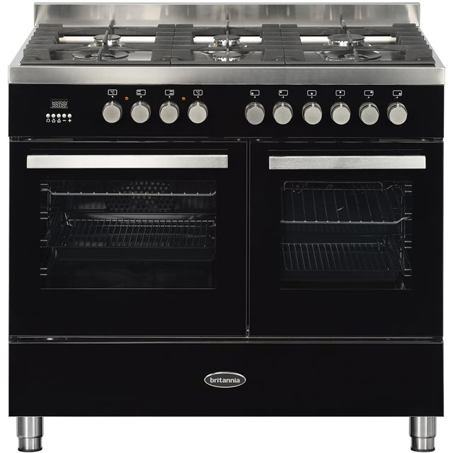 Britannia Sonetto 100DF TC 100cm Dual Fuel Range Cooker - Black - A/A Rated - Sonetto 100DF TC_BK - 1