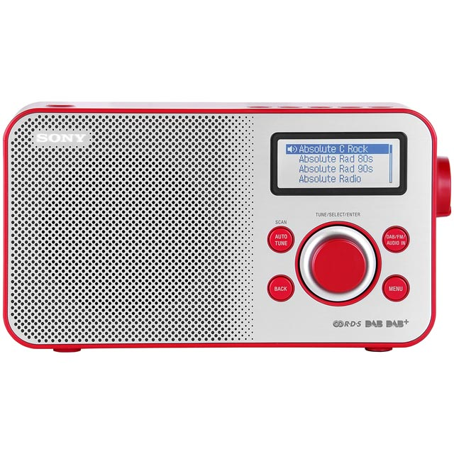 Sony XDR-S60DBPR DAB / DAB+ Digital Radio with FM Tuner - Red - XDR-S60DBPR - 1
