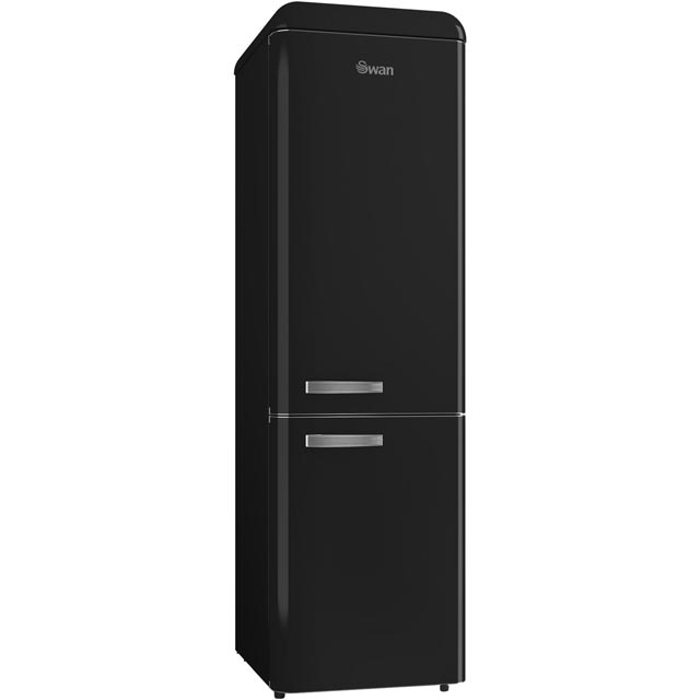Swan Retro Slimline 70/30 Fridge Freezer - Black - A+ Rated