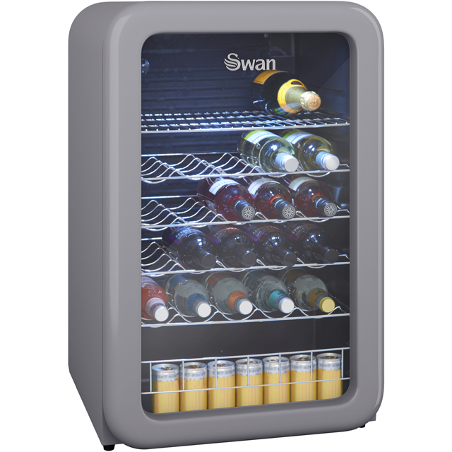 Swan Retro Wine Cooler - Grey - A+ Rated
