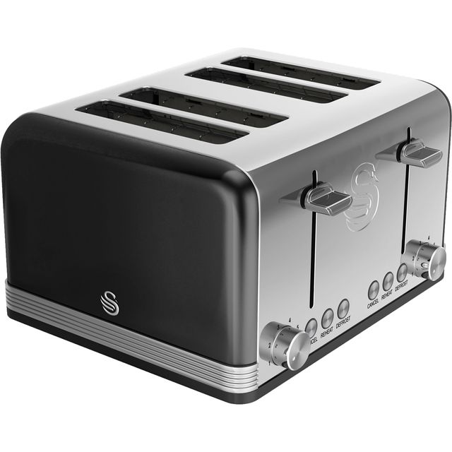 Swan Retro 4 Slice Toaster - Black