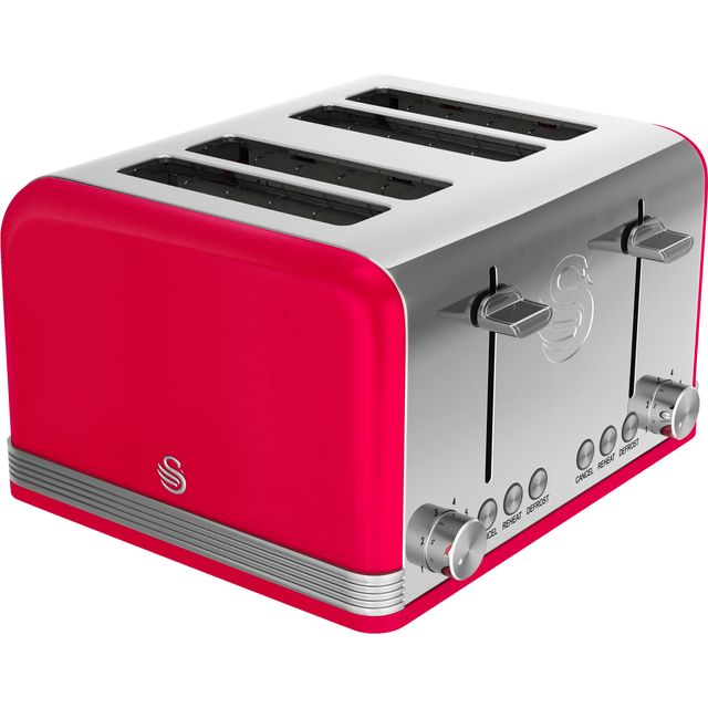 Swan Retro 4 Slice Toaster - Red