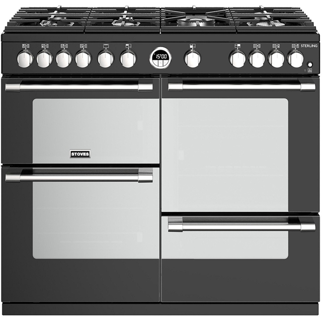 Stoves Sterling S1000G 100cm Gas Range Cooker with Electric Grill - Black - A/A/A+ Rated - Sterling S1000G_BK - 1