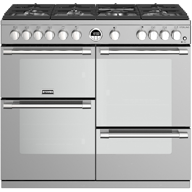 Stoves Sterling S1000G 100cm Gas Range Cooker with Electric Grill - Stainless Steel - A/A/A+ Rated - Sterling S1000G_SS - 1